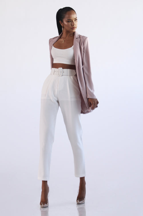 White Raquel Belted Pants
