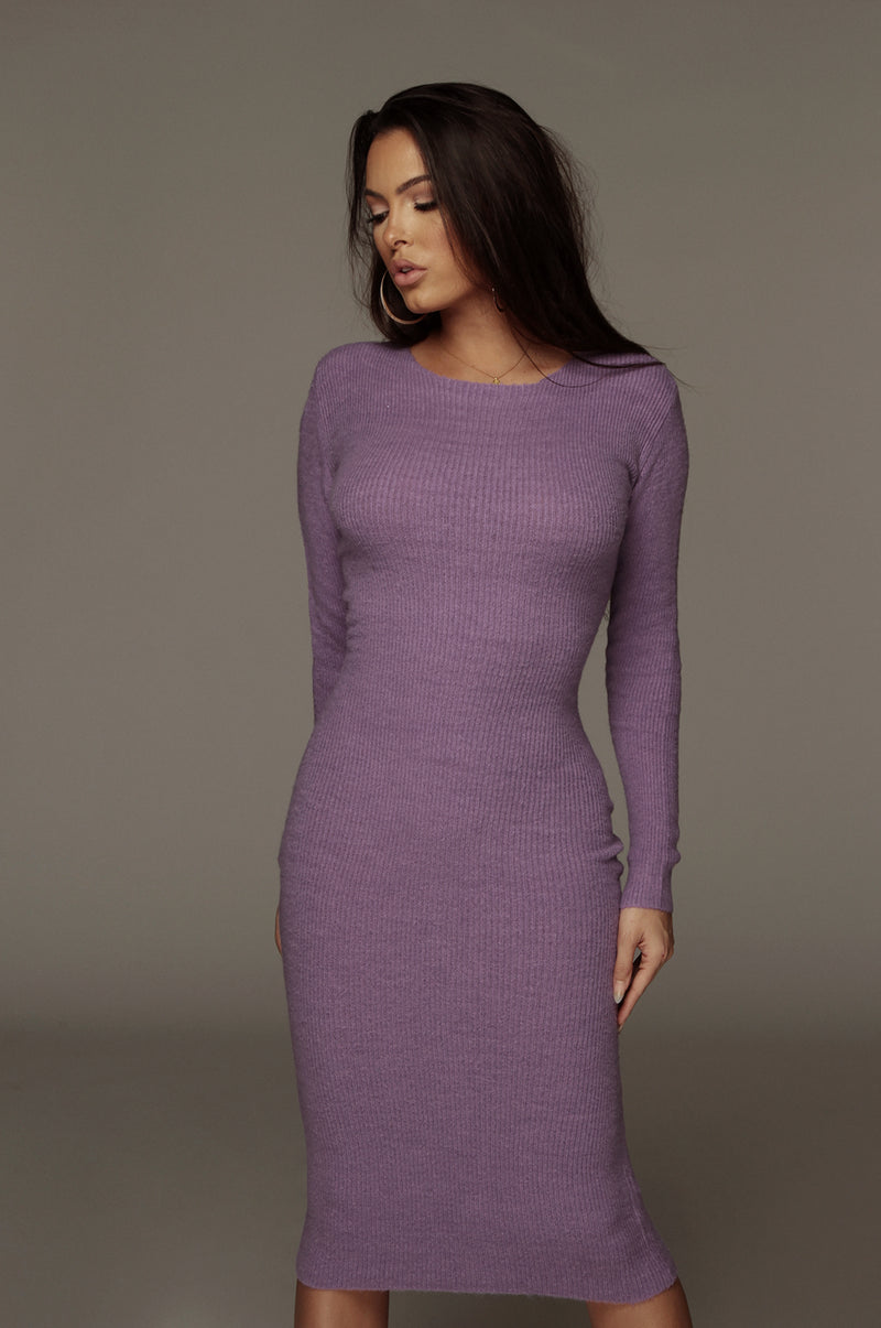 Purple Nic Sweater Dress