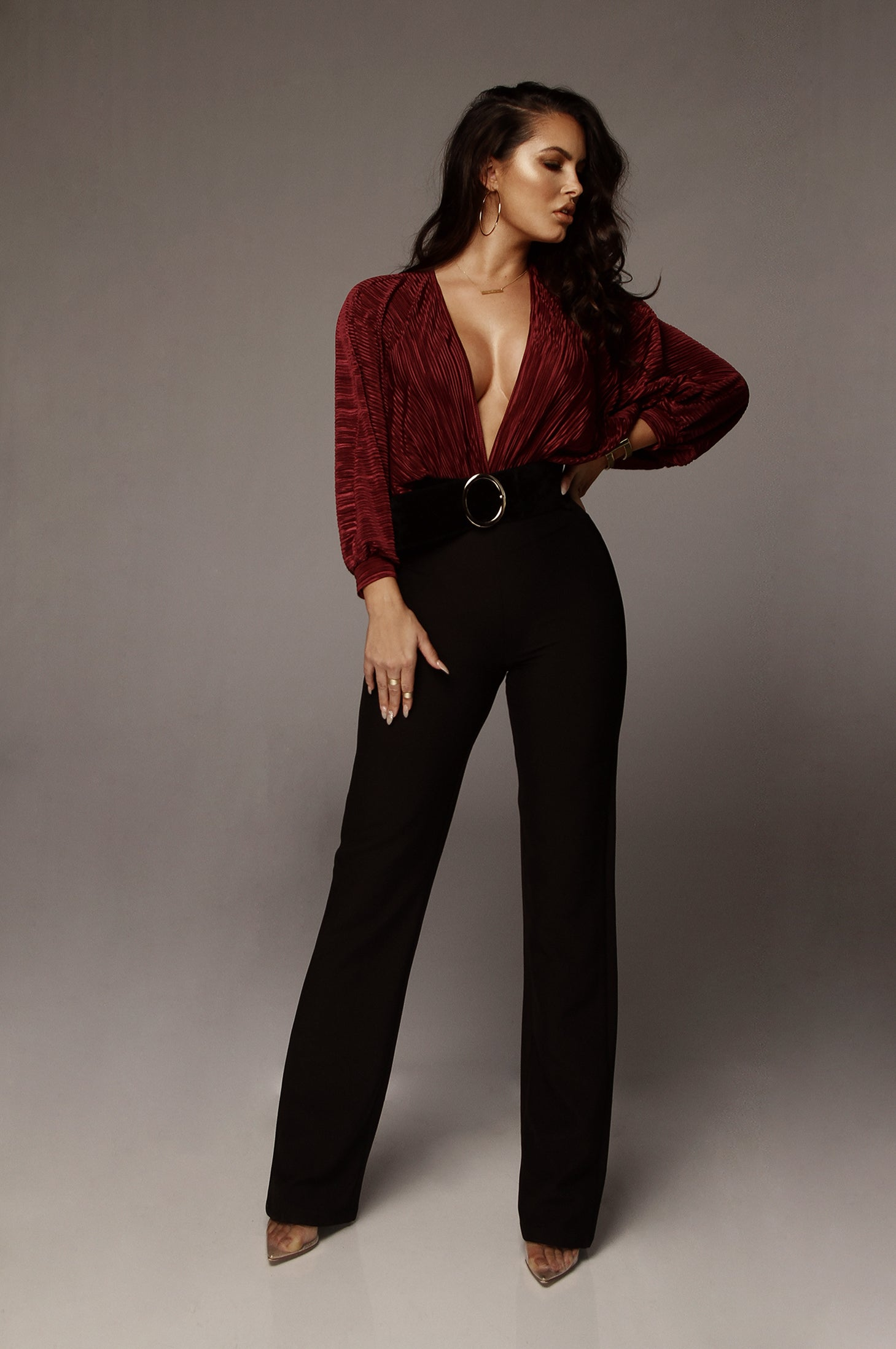 Wine Vela Deep V Bodysuit