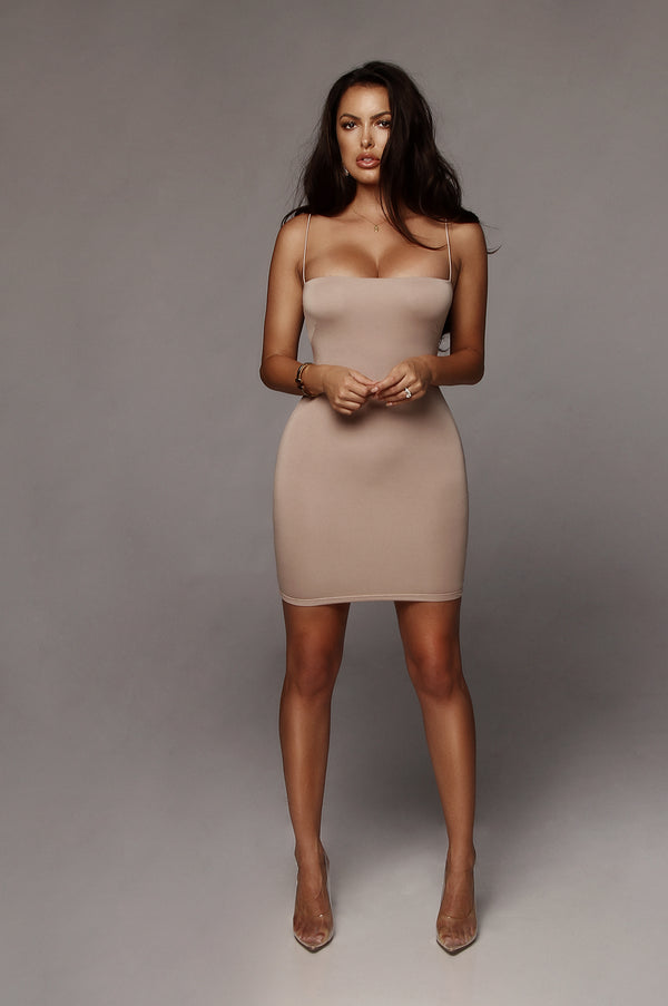 5543d48b3fe26 Taupe Vivi Mini Dress Taupe Vivi Mini Dress
