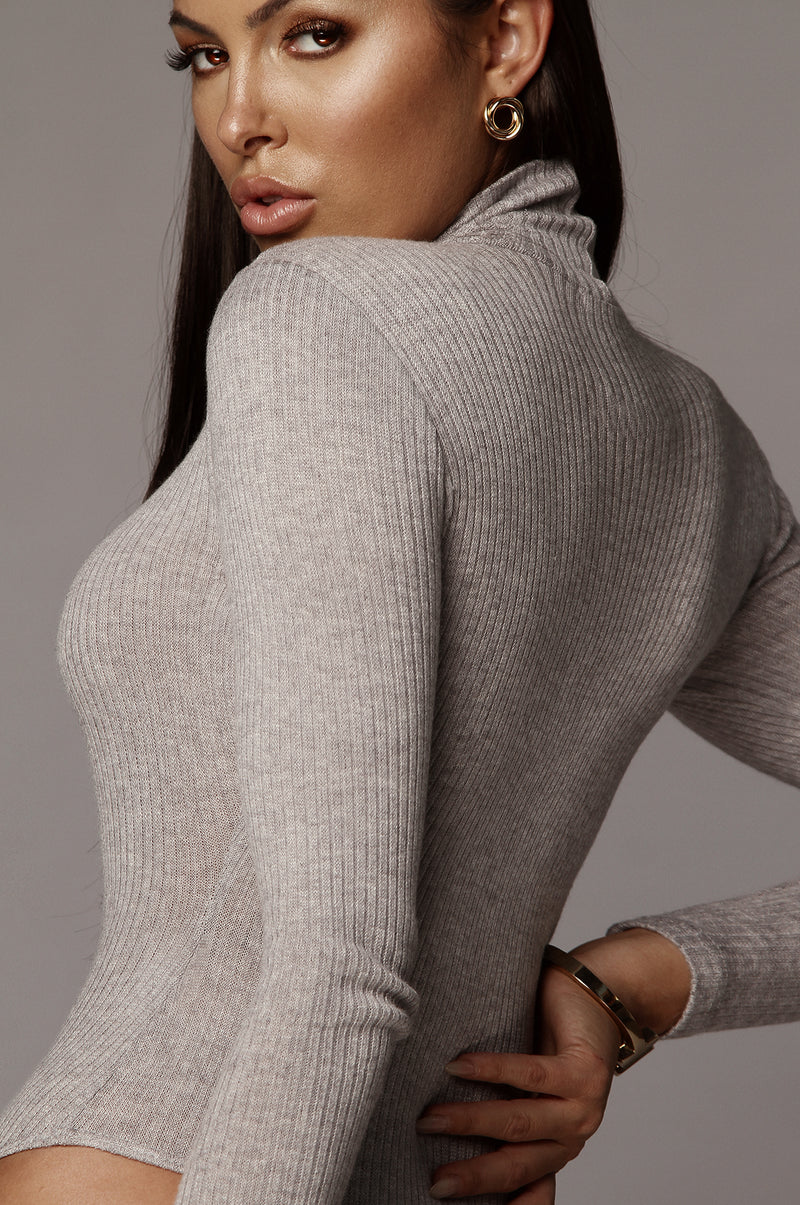 Grey Eniko Mock Neck Bodysuit