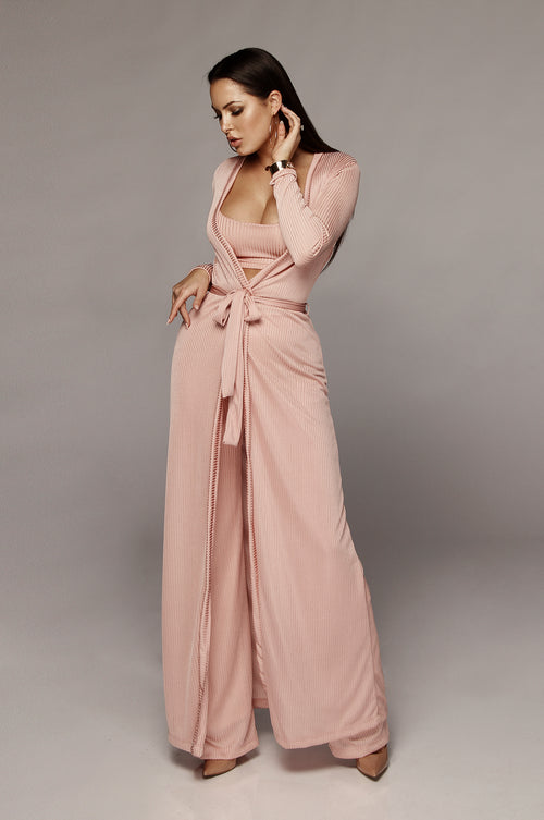 Pink Prosecco Belted Long Duster
