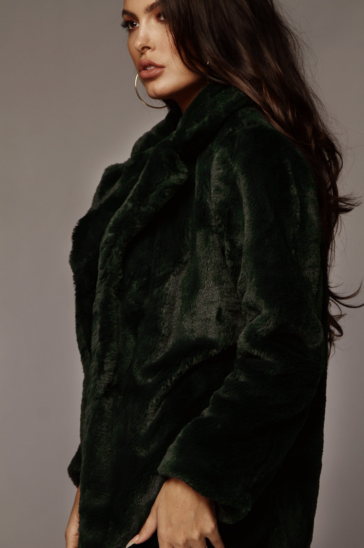 Forest Green Faux Fur Jacket