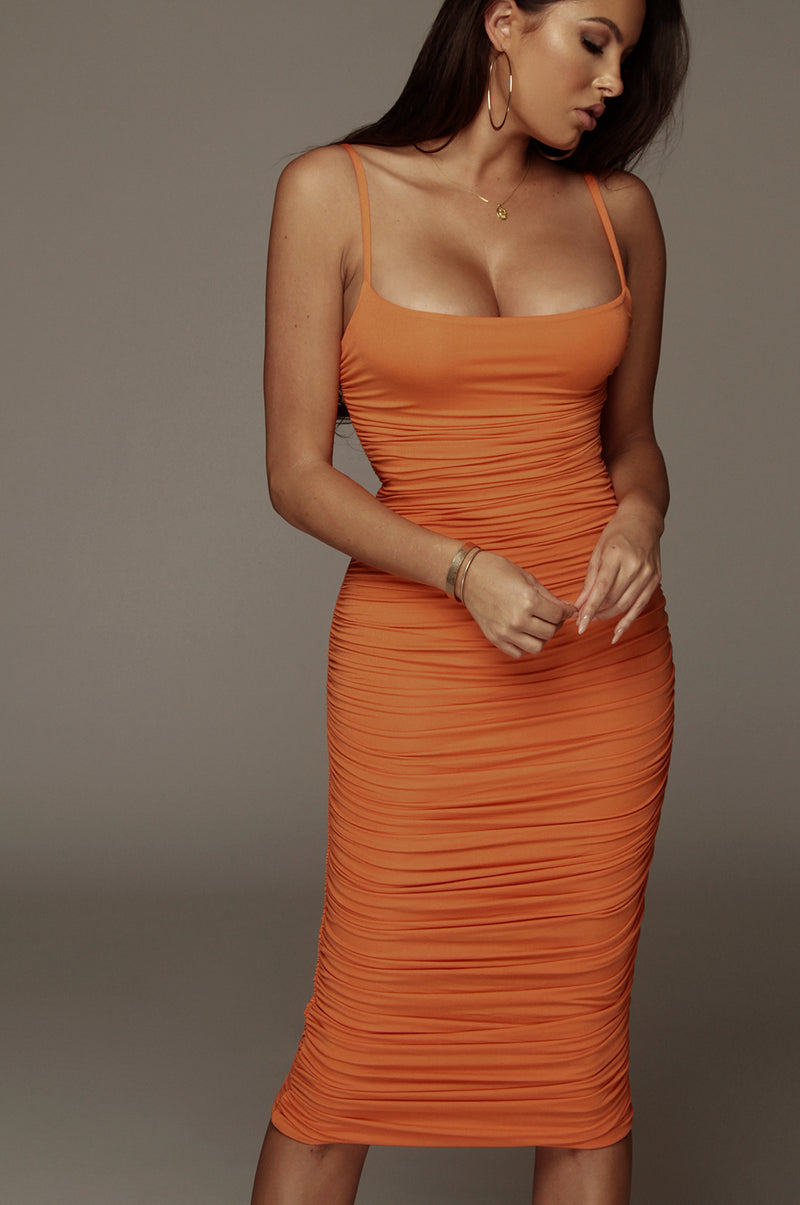 Orange Wynter JLUXBASIX Ruched Dress