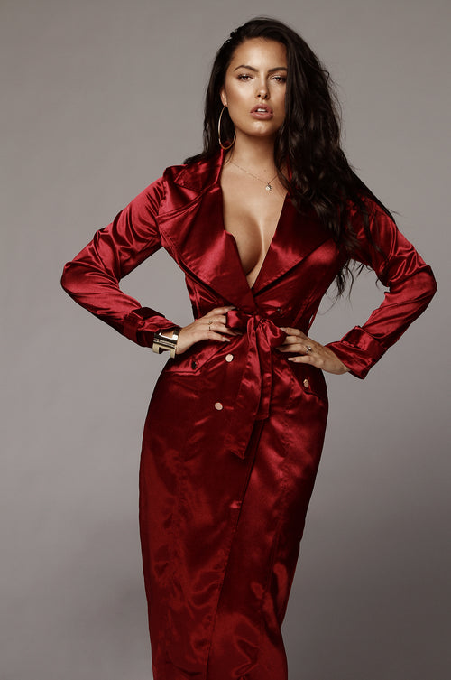 Burgundy Satin Coat Dress