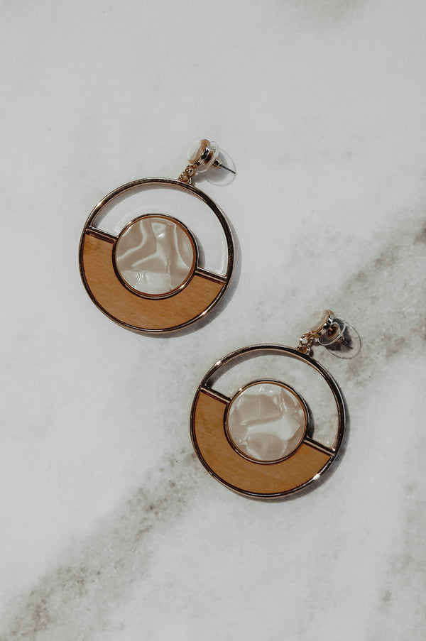 Marble & Wood Drop Earrings