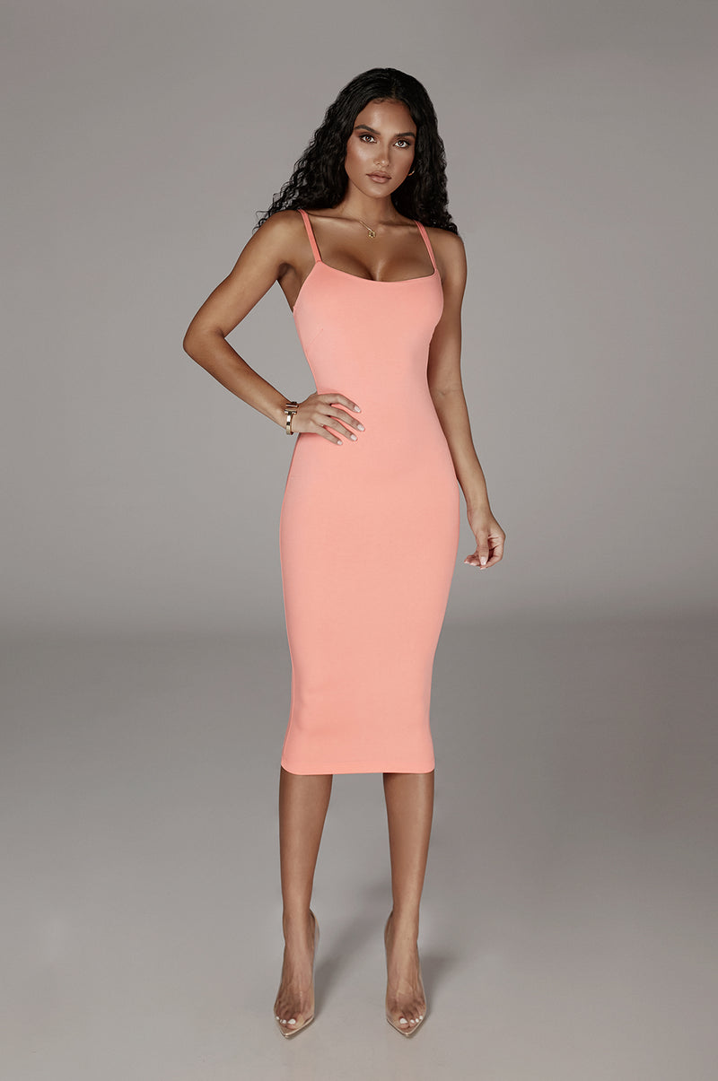 JLUXBASIX Peach Danica Thick Tank Dress