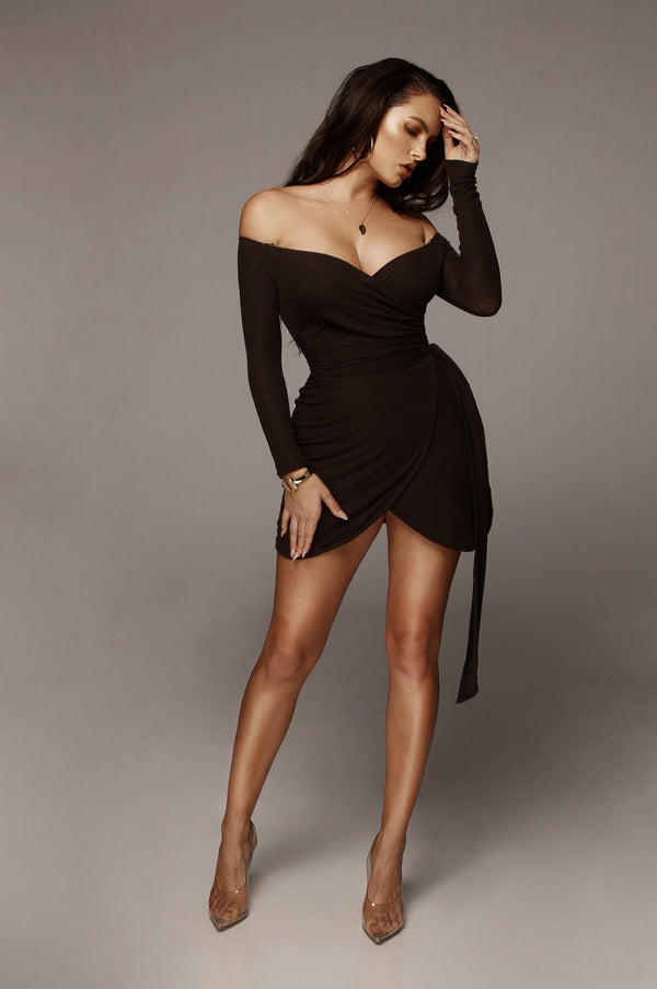 Black Ada Wrap Tie Dress
