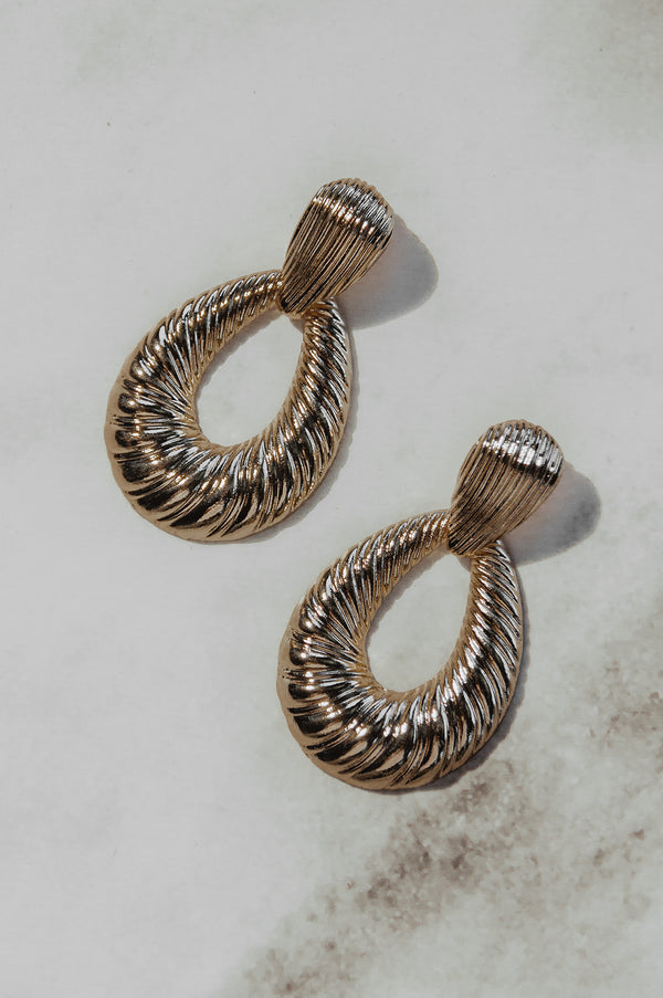 Ribbed Drop Hoop Earrings