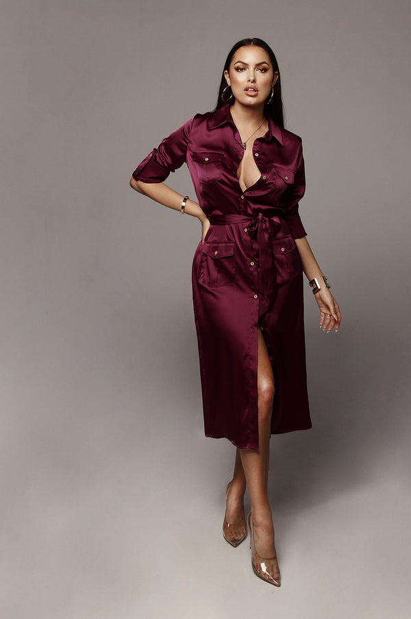Deep Magenta Dawn Silk Shirt Dress