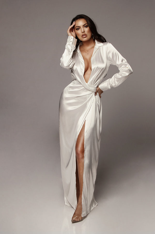 White Solange Plunging Maxi Dress