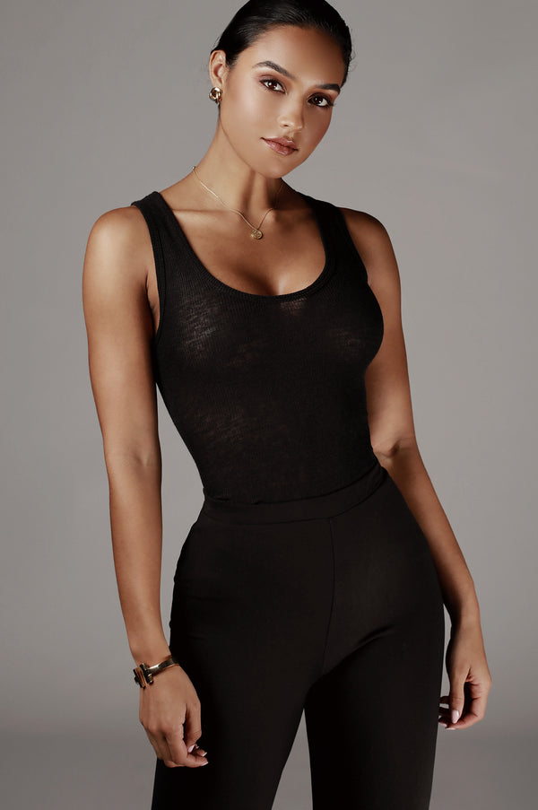 Black Nila Ribbed Tank