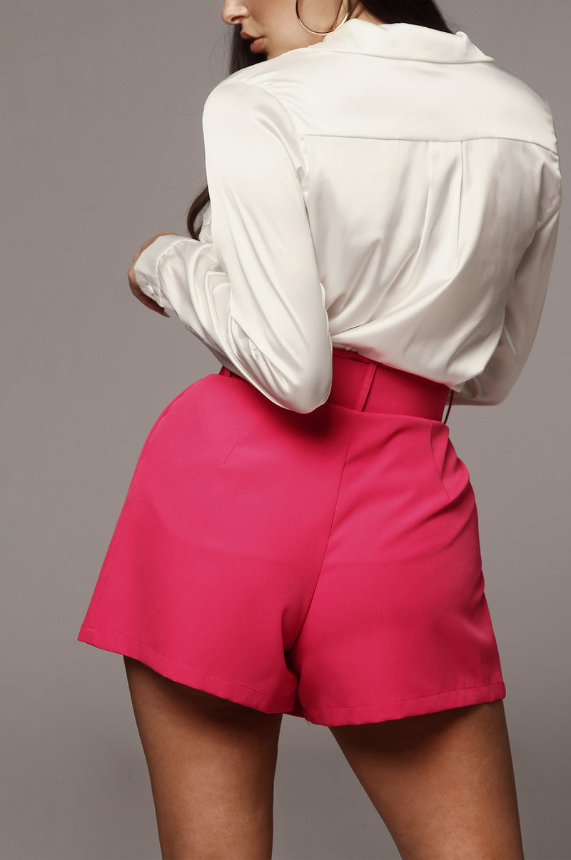 Hot Pink Evalina High Waisted Shorts