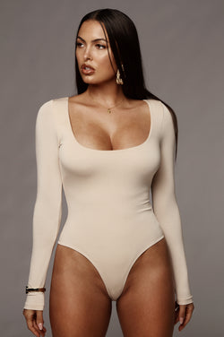Sand Bethie Scoop Long Sleeve Bodysuit