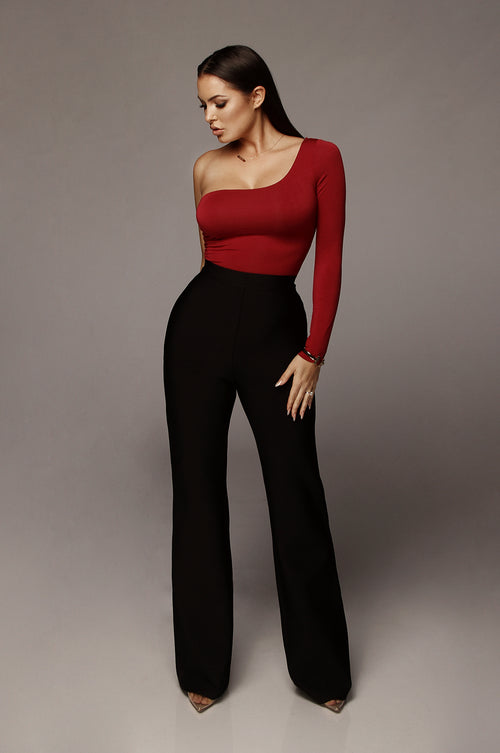 Red Marvel JLUXBASIX One Shoulder Bodysuit