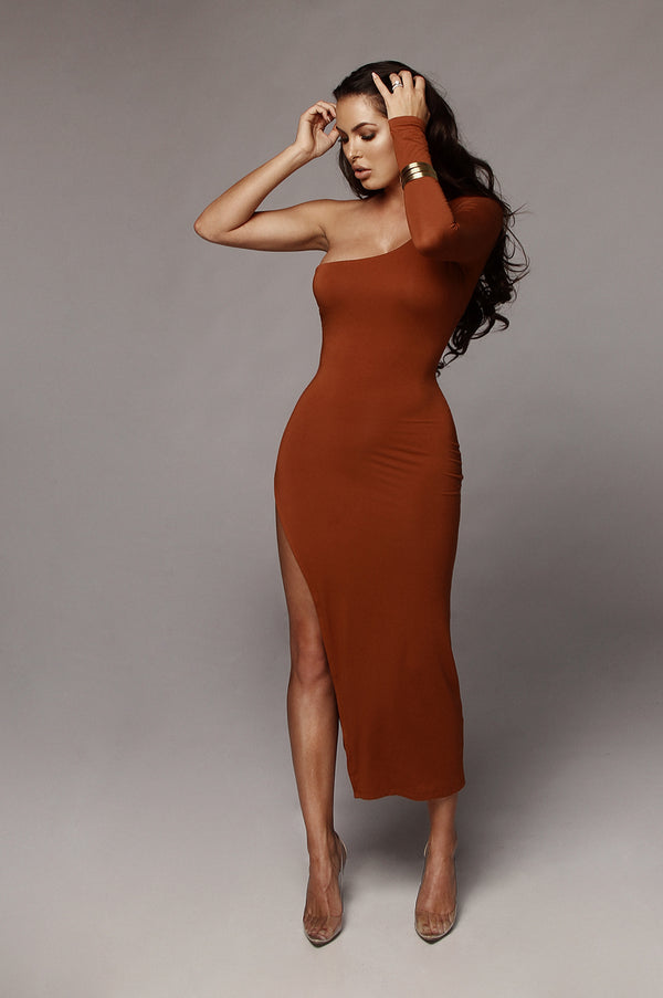 Rust Jules High Slit Dress