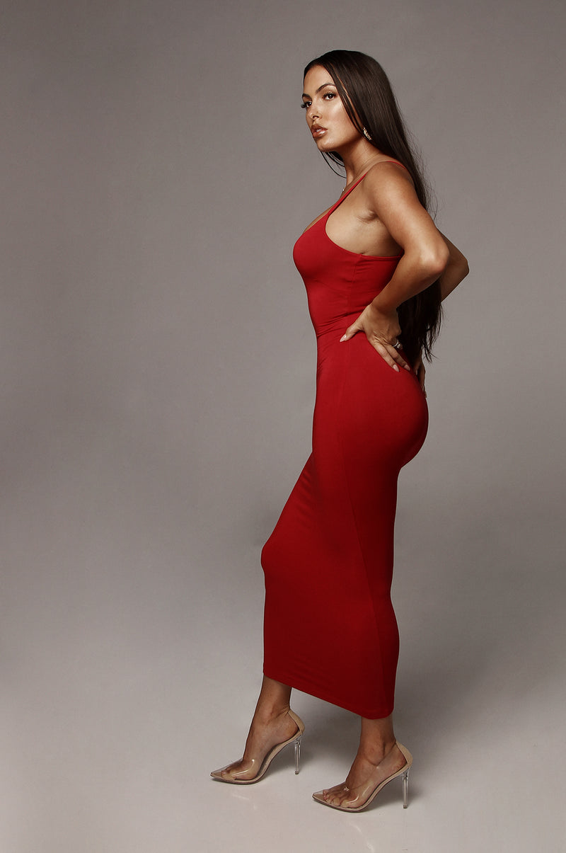 Red Danica Thick Tank Dress