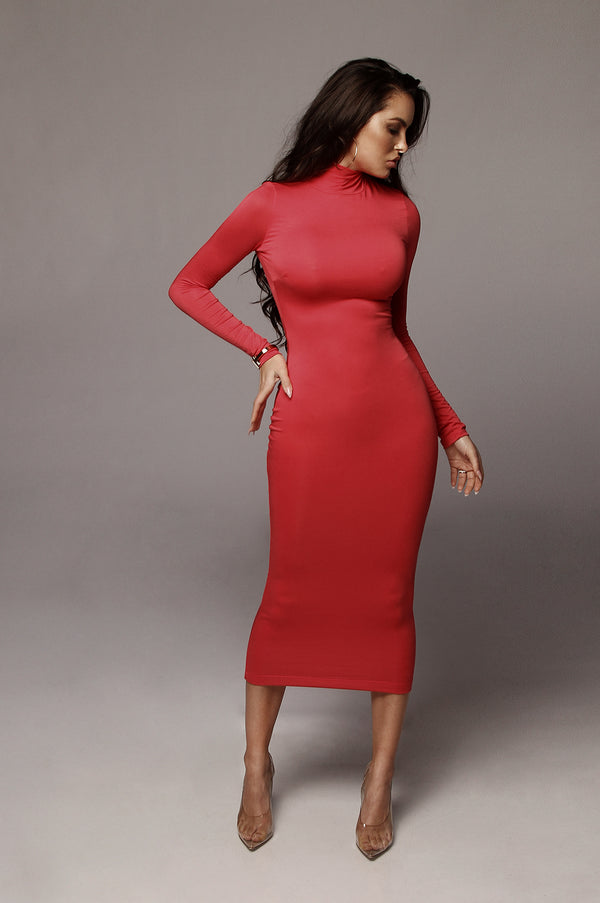 Coral Janessa Double lined Turtleneck Dress