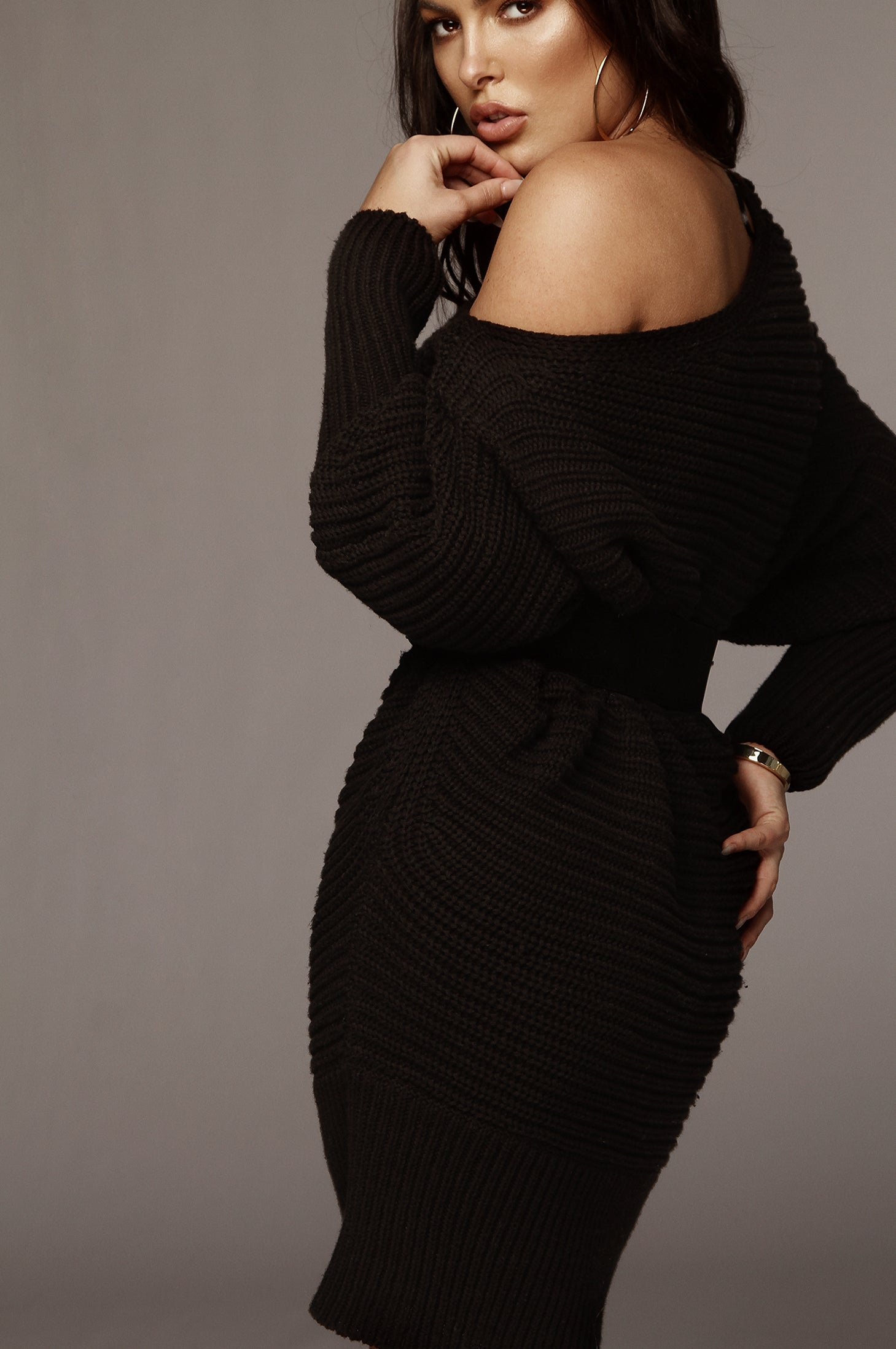 Black Kathy Knit Sweater Dress
