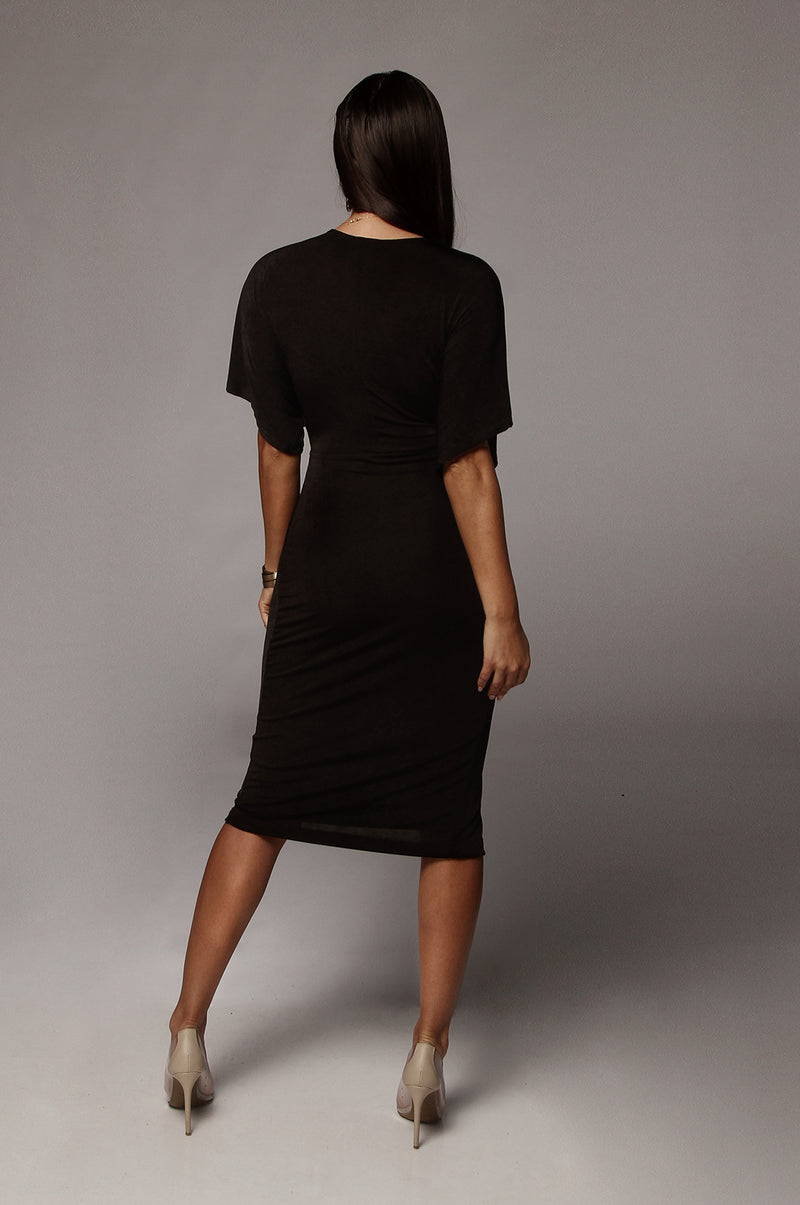 Black Tiara Front Knot Dress