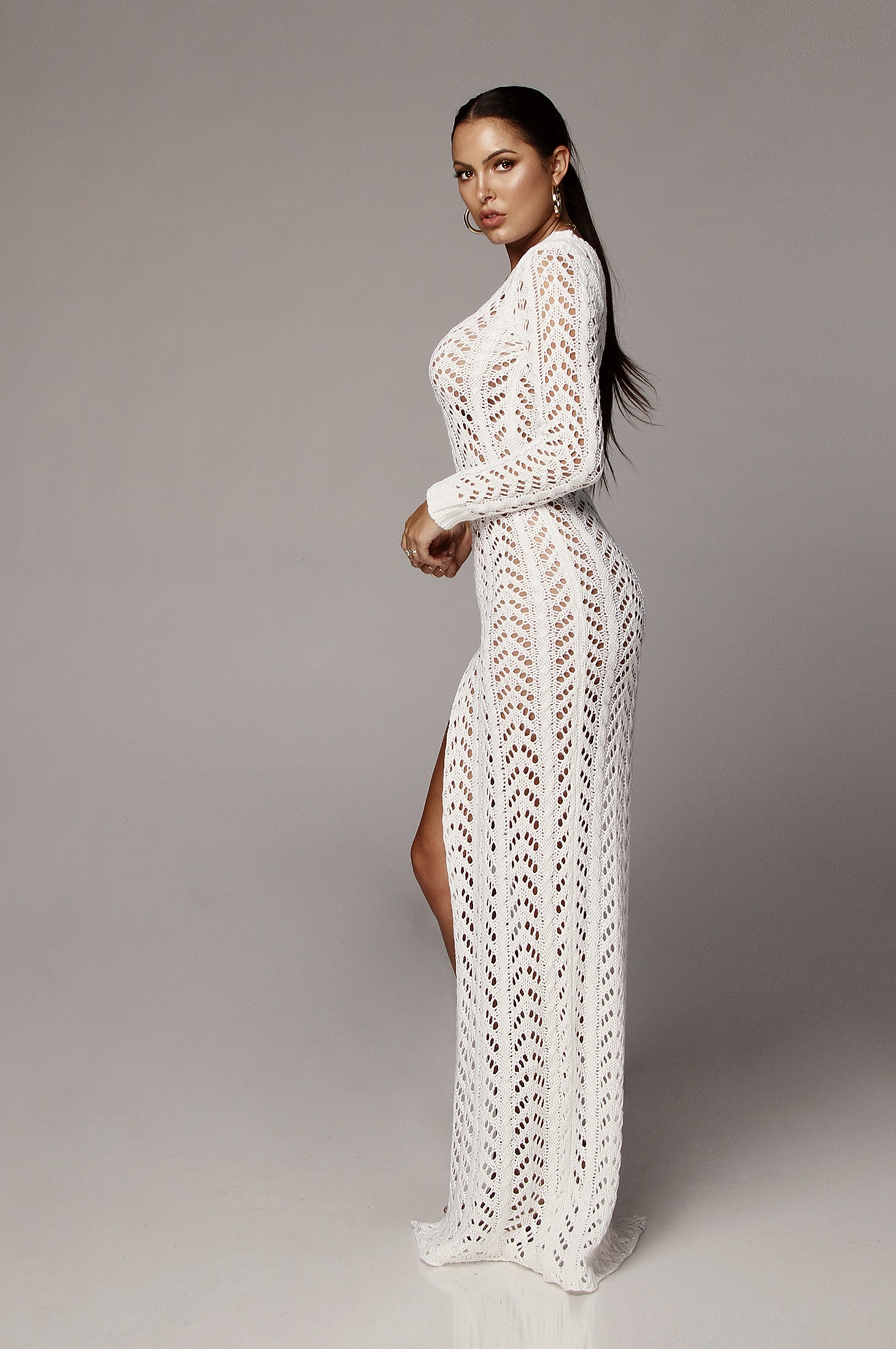 White Lani Knit One Shoulder Dress