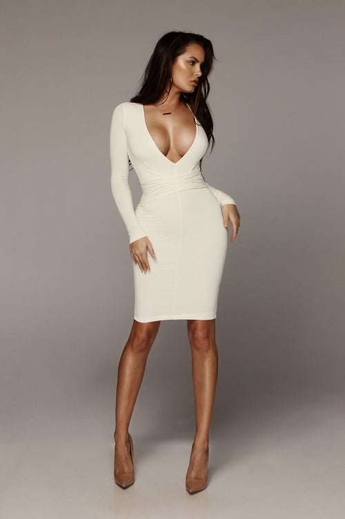 Ivory Ari Deep V Double Lined Dress