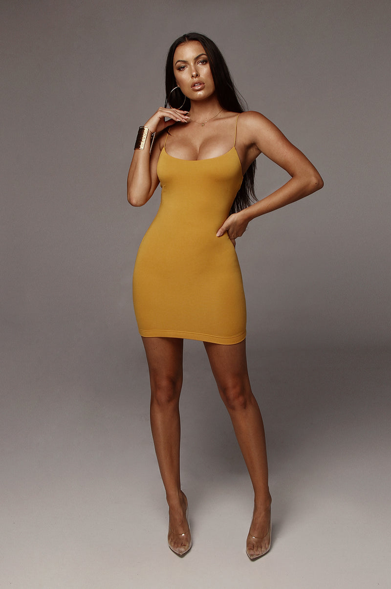 Mustard Amaria JLUXBASIX Mini Dress