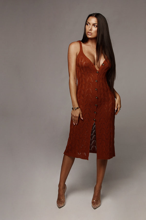 Rust Maliah Crochet Cover up Dress