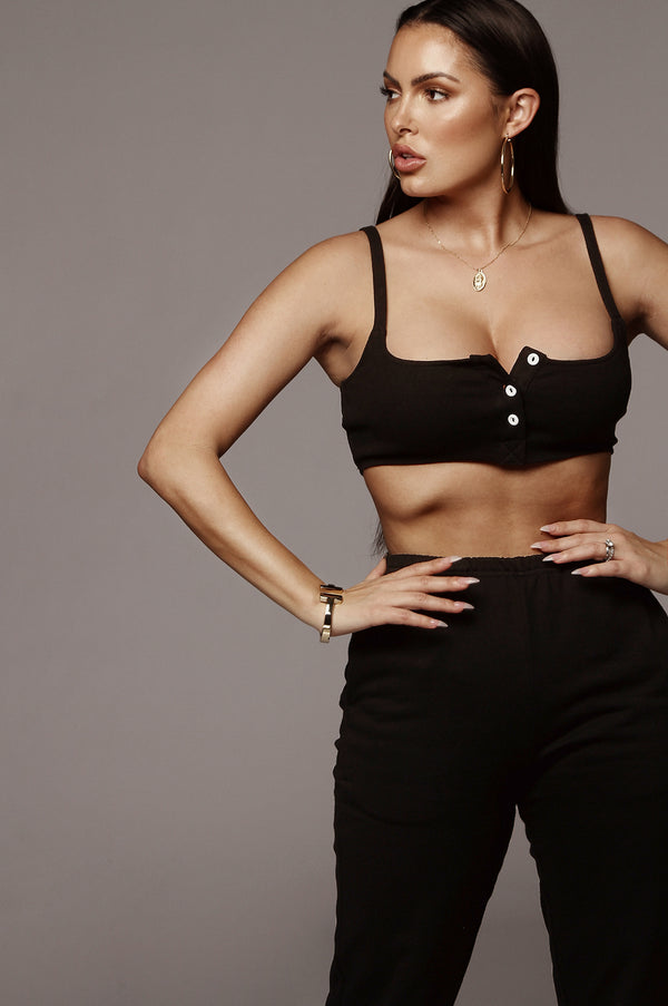 Black Chey Ribbed Crop Top