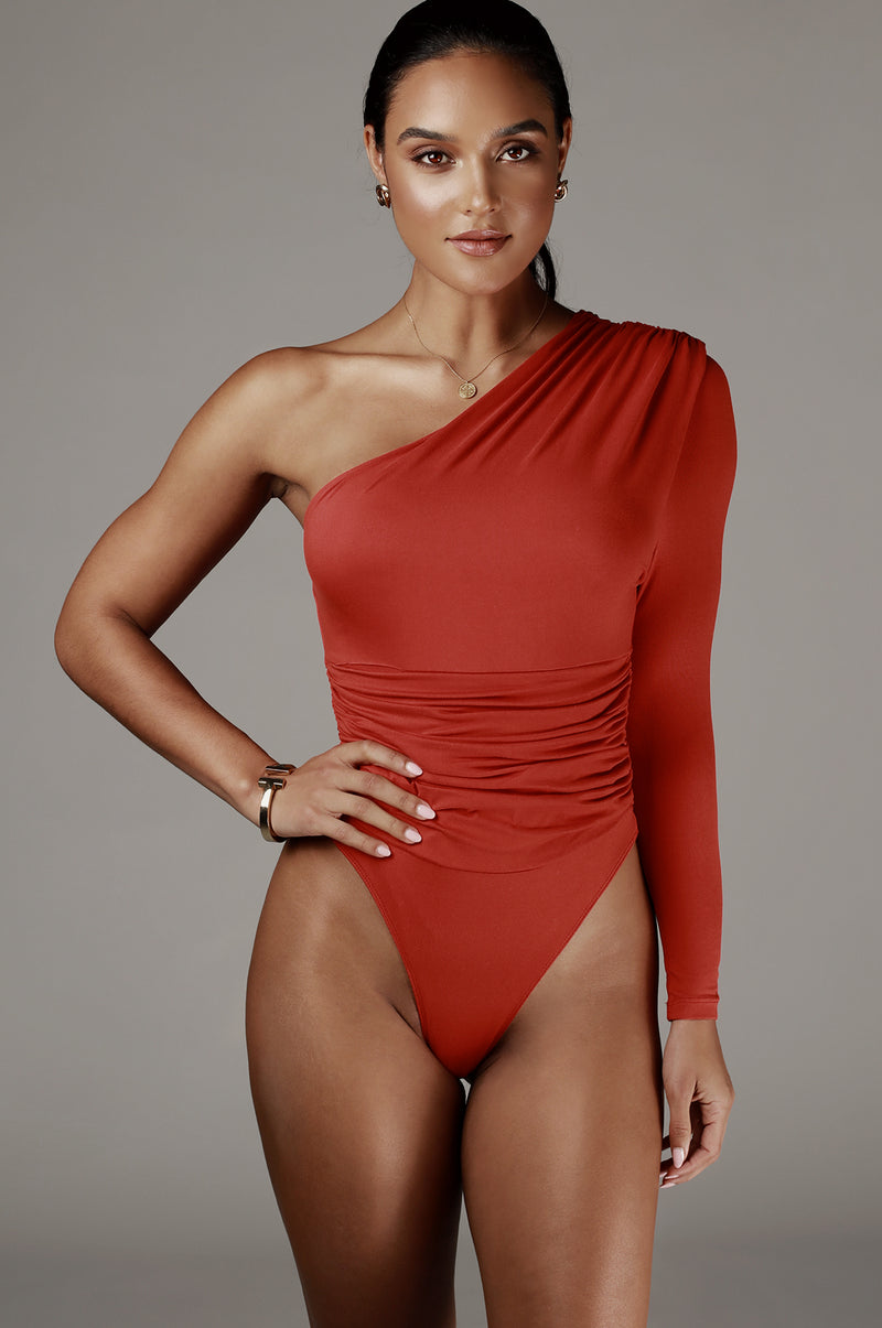 Red Orange Chamile One Shoulder Bodysuit