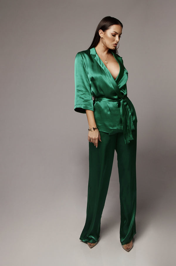 Green Anne Silk Pants