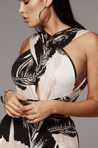 Black and White Bomb Ribbed Contrast Bandeau