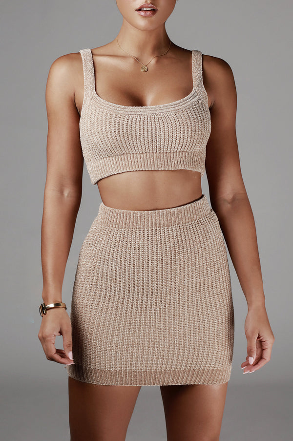 Taupe Reza Ribbed Sweater Set