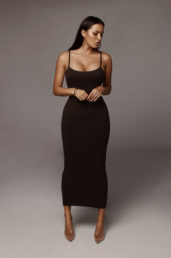 Black Tyra Ribbed Simple Dress