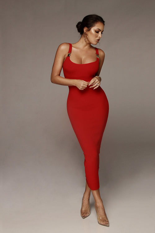 Red Criss Gold Detail Strap Ribbed Dress