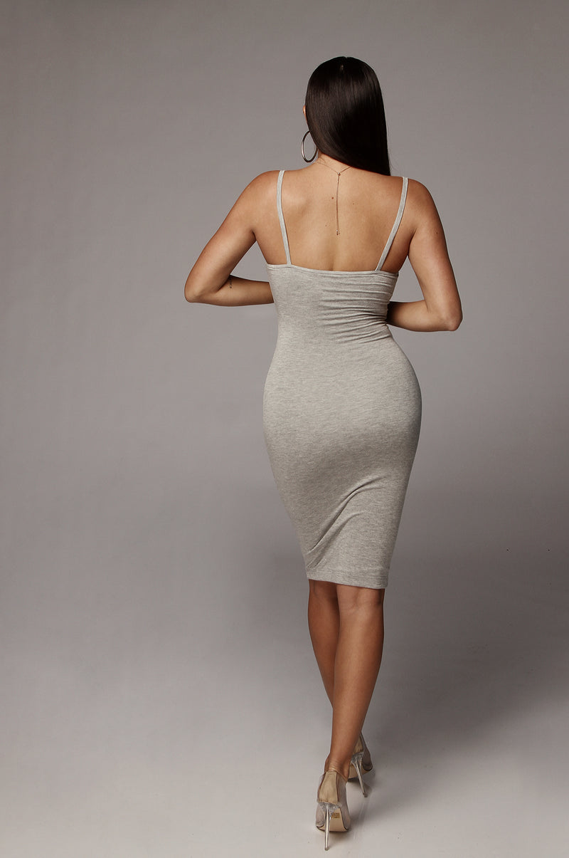 Grey JLUXBASIX New Jersey Double Lined Dress