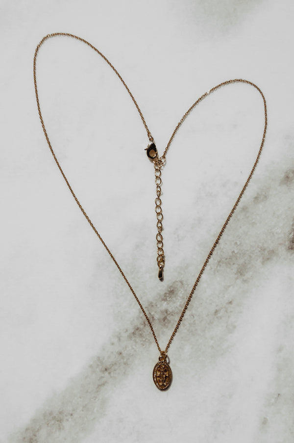 Gold Dainty Mary Necklace