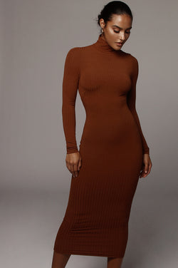 Walnut Rosalie Ribbed Dress