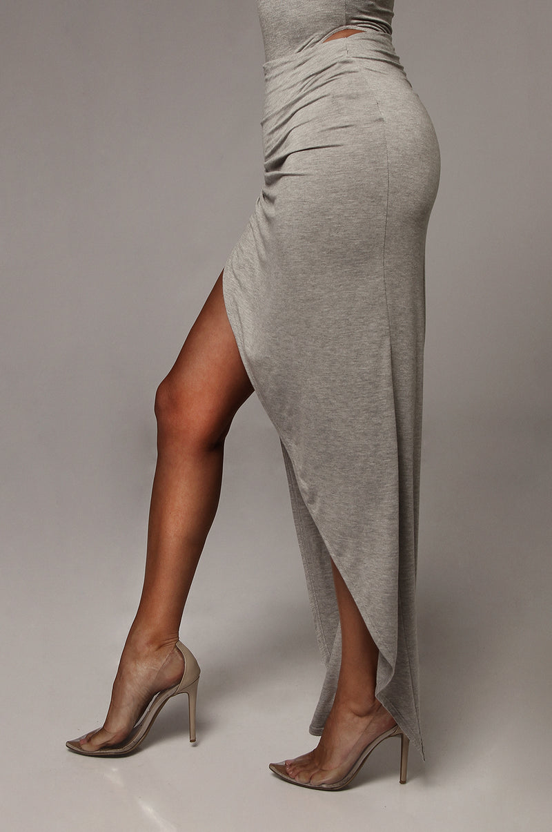 Grey Alycia High Slit Skirt