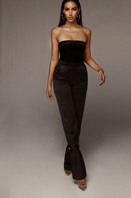 Black Satin Belted Cuff Pants
