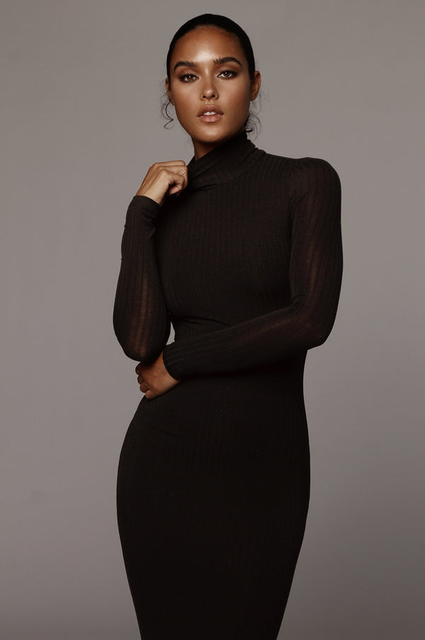 Black Rosalie Ribbed Dress