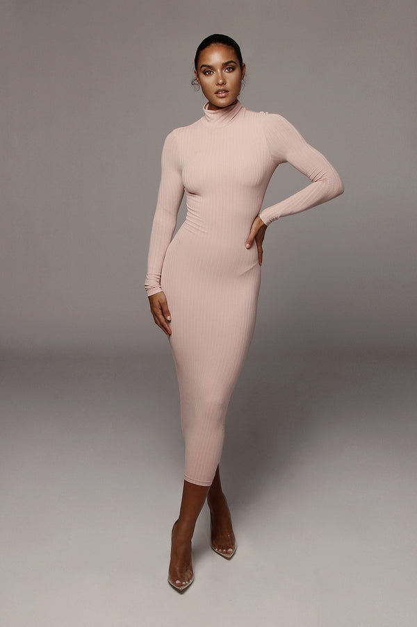 Dusty Pink Rosalie Ribbed Dress