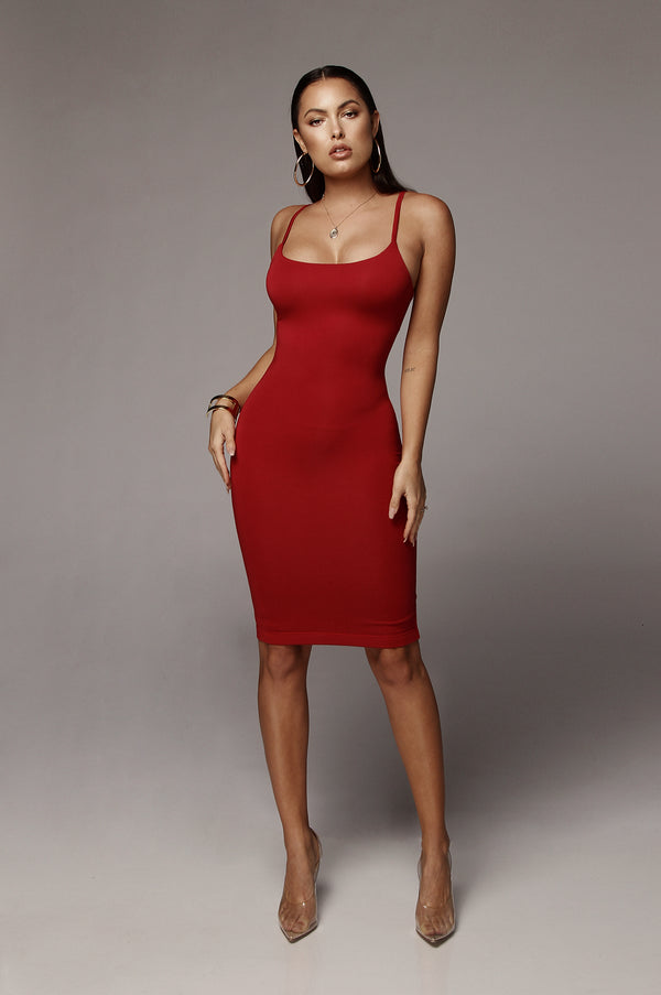 Red JLUXBASIX New Jersey Double Lined Dress