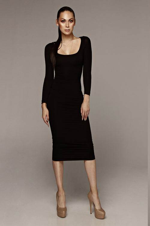 Black Cassandra James JLUXBASIX Scoop Neck Dress