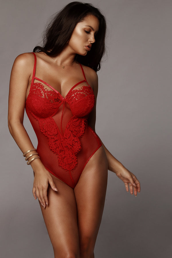 Red Bambi Mesh and Lace Bodysuit