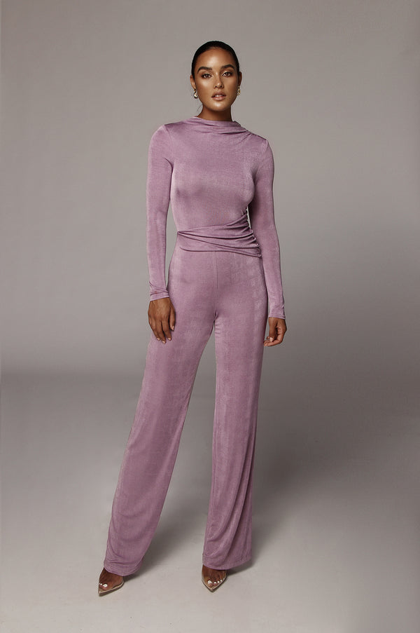 Iris Purple Kaia High Neck Jumpsuit
