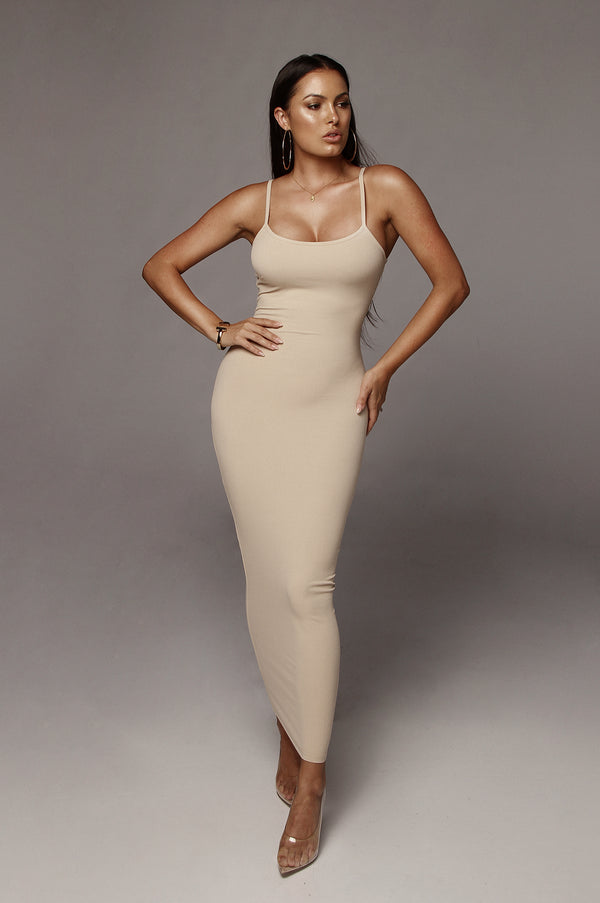 Taupe Tyra Ribbed Simple Dress