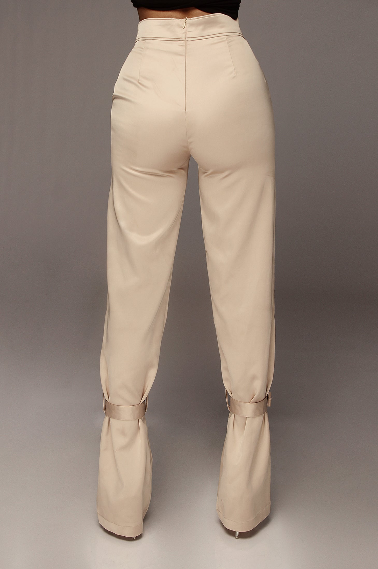 Beige Satin Belted Cuff Pants