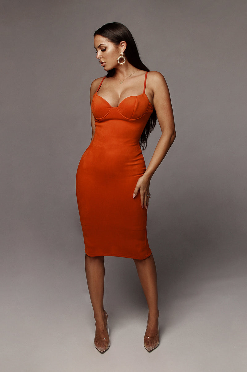 Fire Orange Mandy Suede Bustier Dress