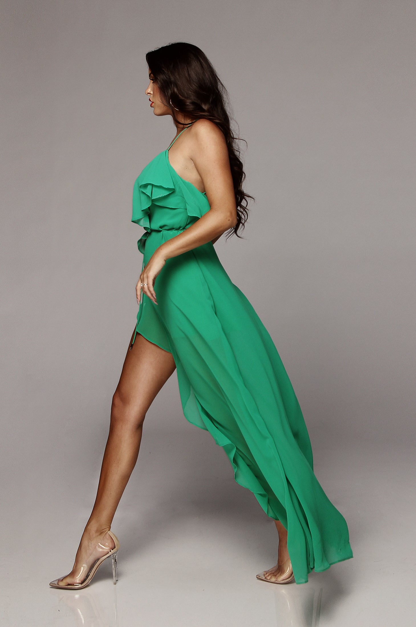 Green Ashley Ruffle Maxi Dress